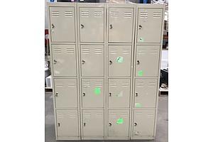 Four Door Metal Storage Lockers -Lot Of Four