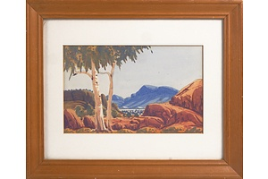 Nelson Pannka (1928-1972), Central Australian Landscape, Watercolour