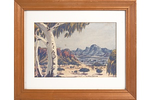 Oscar Namatjira (1922-1991), Central Australian Landscape, Watercolour