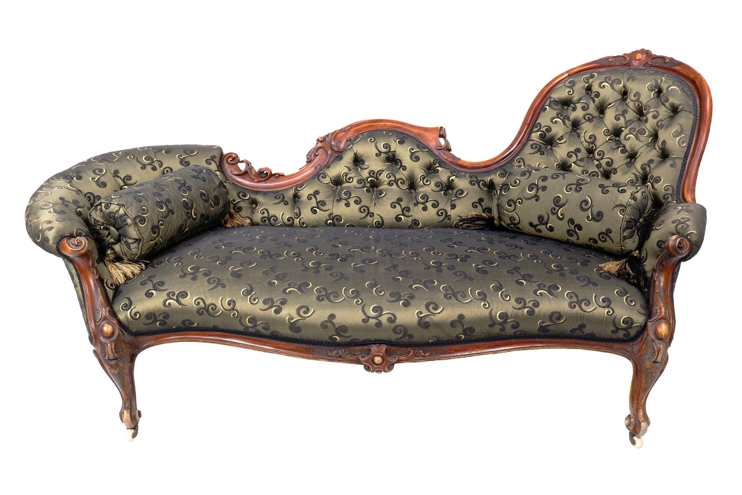 'Victorian Walnut Chaise Lounge with Buttoned Brocade Upholstery Circa 1880'