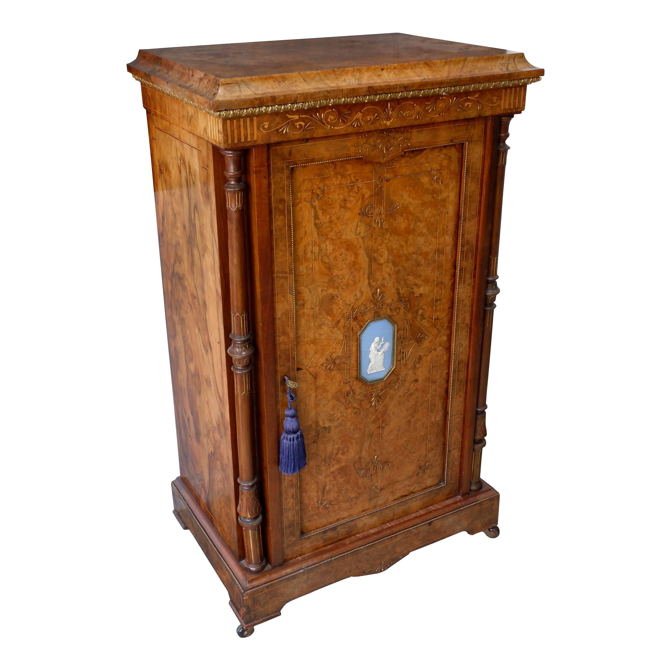 'Good Victorian String Inlaid Burr Walnut Music Cabinet with Brass Applique and Jasperware Medallion, Circa 1880'