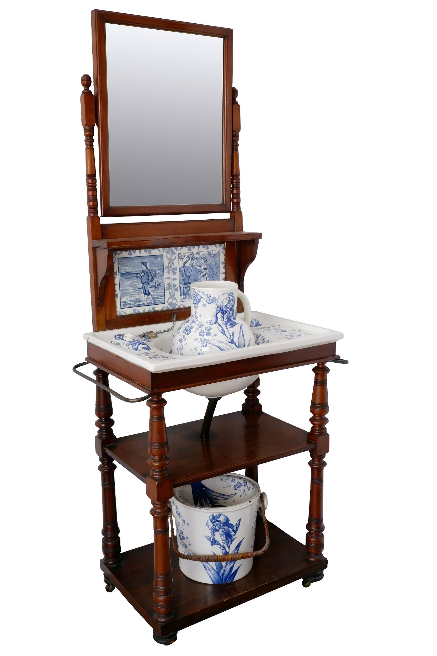'Antique Mahogany Washstand Complete with Blue and White Porcelain Sink, Wash Jug and Waste Bucket by JC Brown; W.Westhead Moore and Company, Circa 1880'