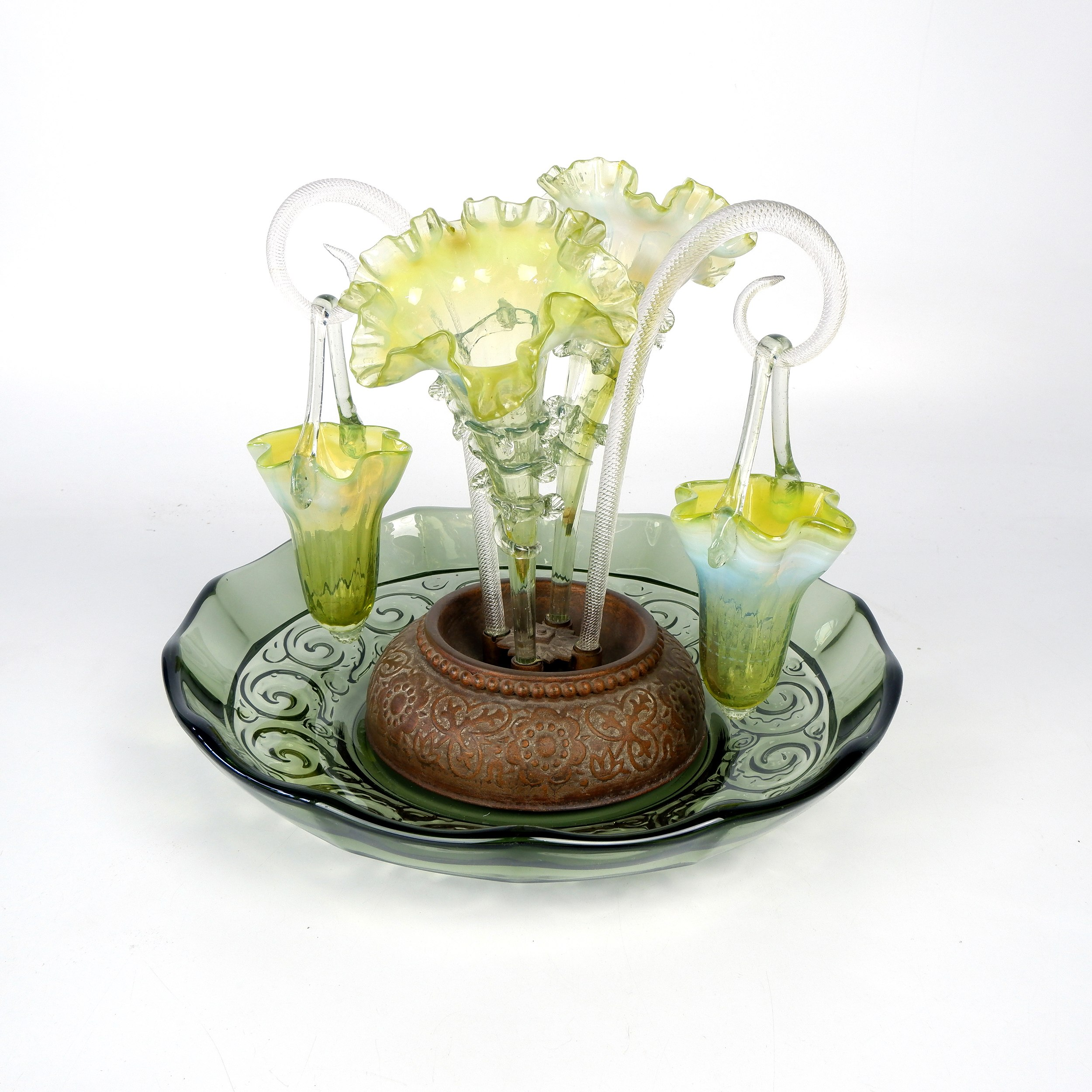'Victorian Vaseline Glass Epergne with Rigaree Work and Two Hanging Vases, Circa 1880'