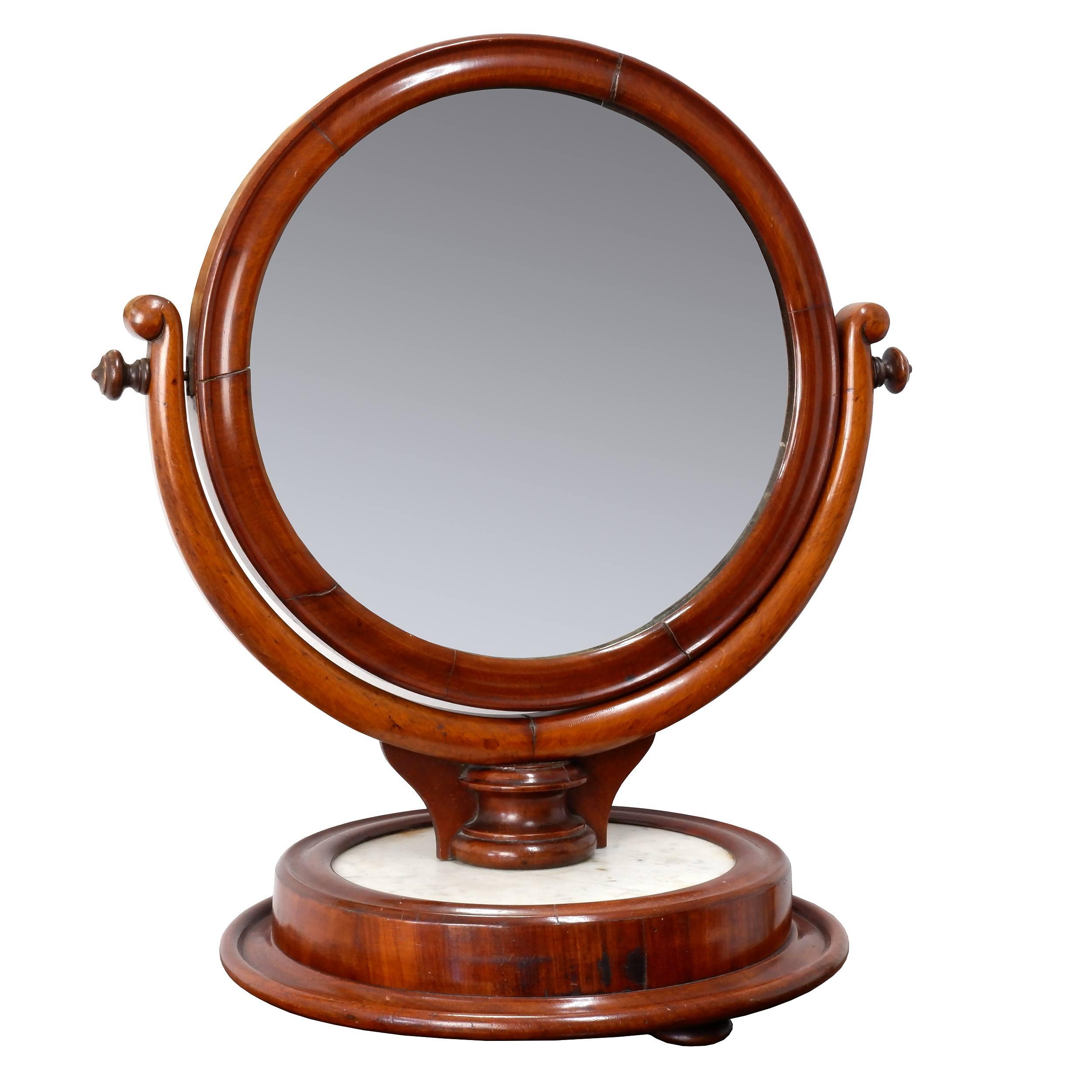 'Victorian Mahogany and Marble Shaving Mirror, Circa 1880'