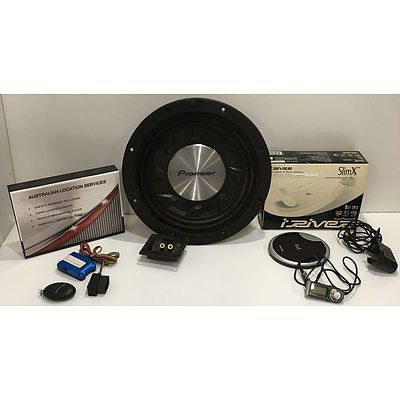 Pioneer 12 Inch 1400W Shallow Mount Subwoofer, Car GPS Tracker And Iriver Audio Player - Lot Of Three