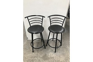 Pair Of Black Zeta Bar Stools