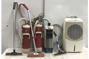 Convair Magicool Air Conditioner With Three Electrolux Vintage Vacuum Cleaners