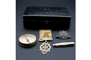 Vintage Initialed jewellery Box with Compass, Miniature Pocket Knife, Rising Run Badge and Gilt Silver Masonic Badge