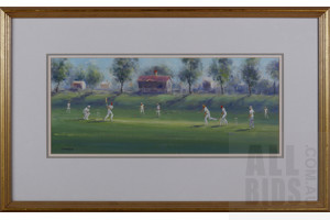 Charles Moodie (1947- ) Cricket in the Park, Oil on Canvas Board, Image Size 25 by 60cm