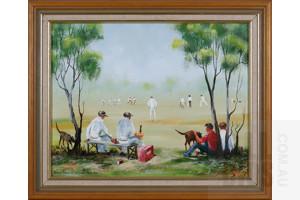 Arthur Hamblin (1933-) Waiting Their Turn, Oil on Canvas,  Image Size 34 by 44cm