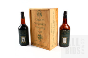 Boxed Cricket Centenary Vintage Port, 1979 Prince of Wicket Keepers and 1974 Captain Australia