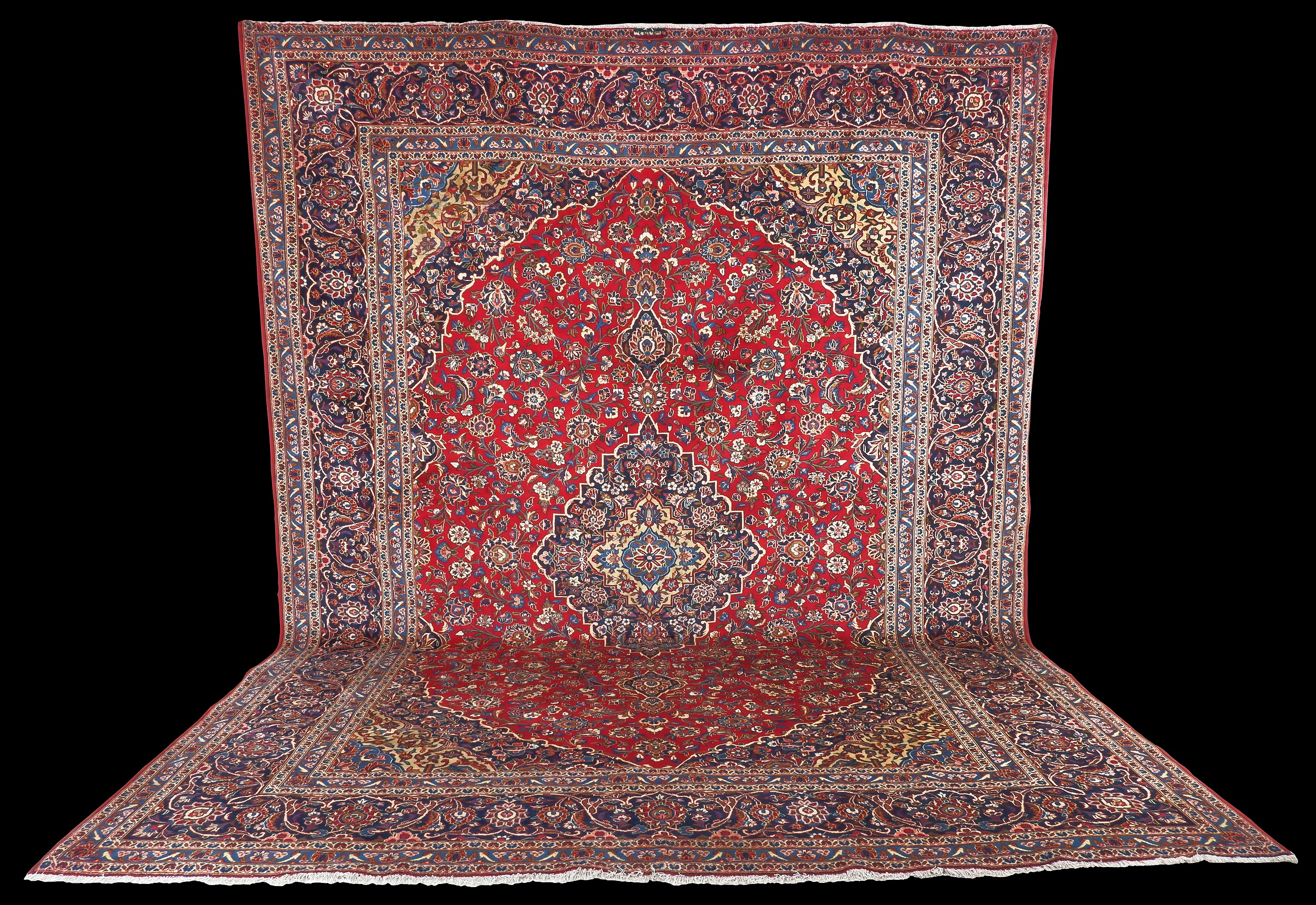 'Persian Kashan Hand Knotted Wool Pile Room Sized Carpet with Signed Kashan Cartouche'