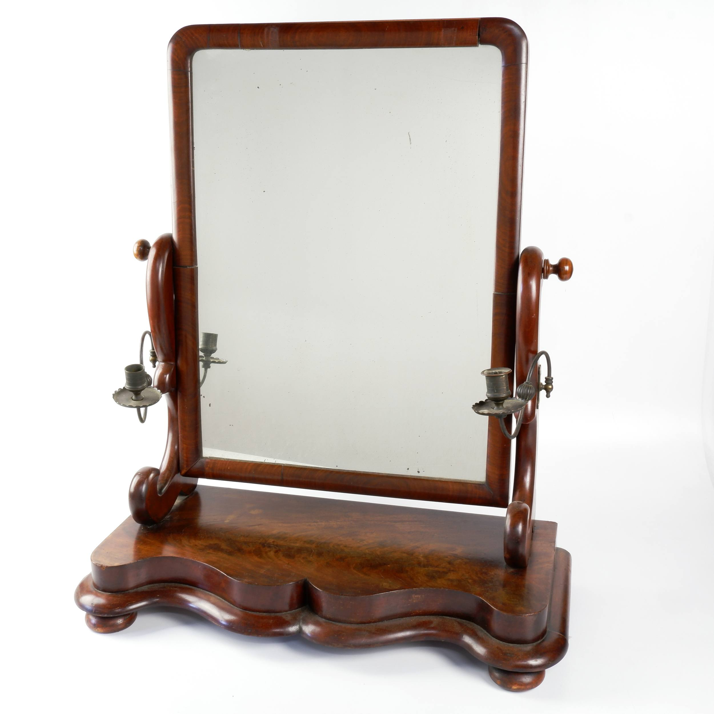 'Victorian Mahogany Toilet Mirror with Attached Candle Sconces Circa 1880'