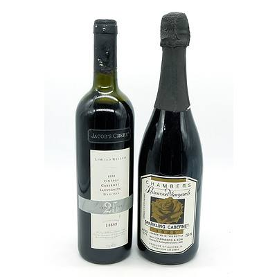 Jacobs Creek Limited Release Barossa 1998 Cabernet Sauvignon - Bottle No 14689 and a Chambers Sparkling Cabernet