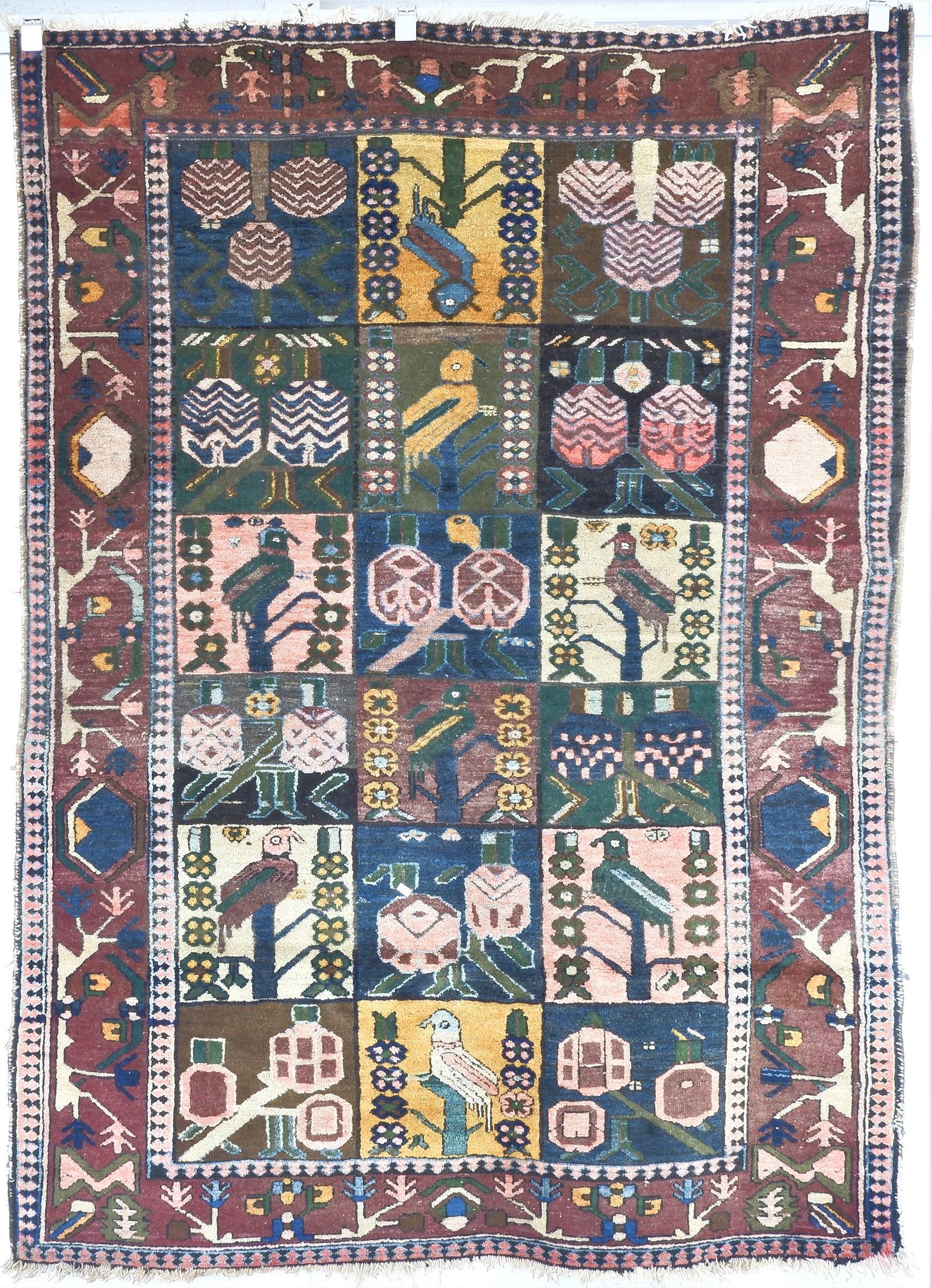 'Antique Persian Bakhtiari Hand Woven Wool Pile Rug'