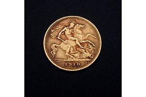 1910 Edward VII 22ct Gold Half Sovereign, Sydney Mint Mark