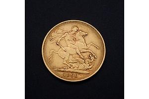 1899 Queen Victoria 22ct Gold Sovereign, Melbourne Mint Mark