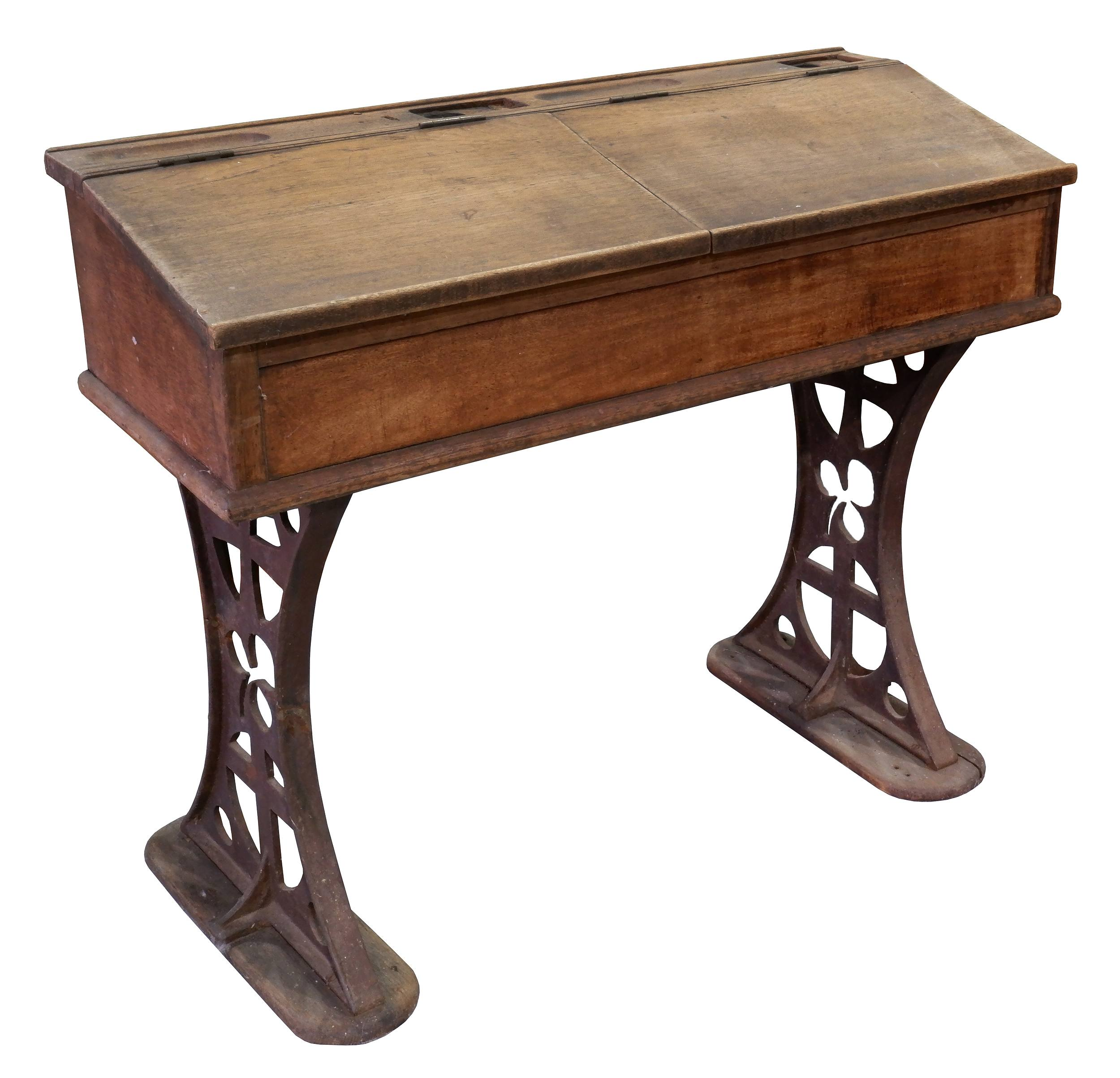 'Queensland Catholic School Desk With Cast Iron Legs Decorated with the Medieval Cross, Shamrock and Catholic Cross'