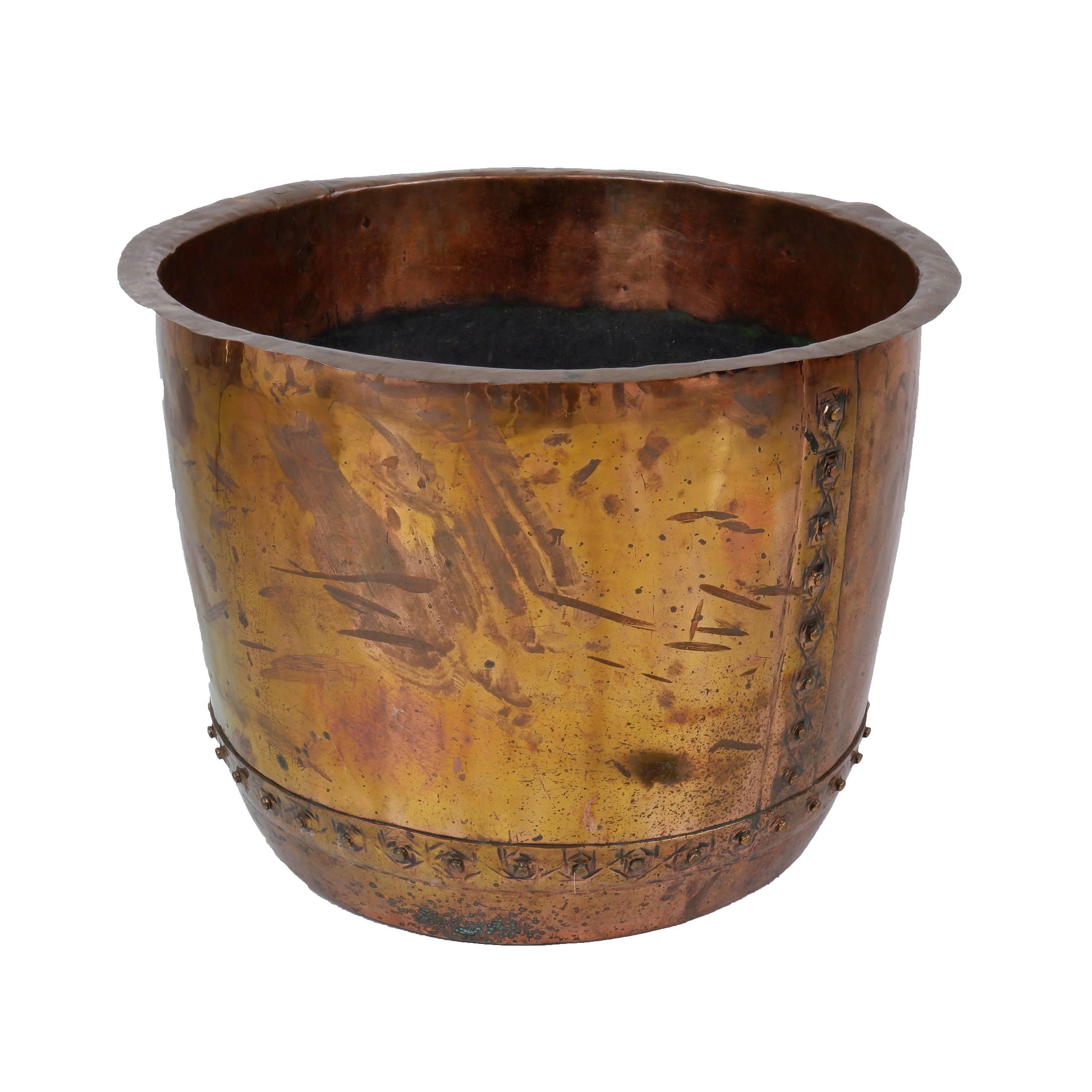 'Large Antique Riveted Copper Boiler'