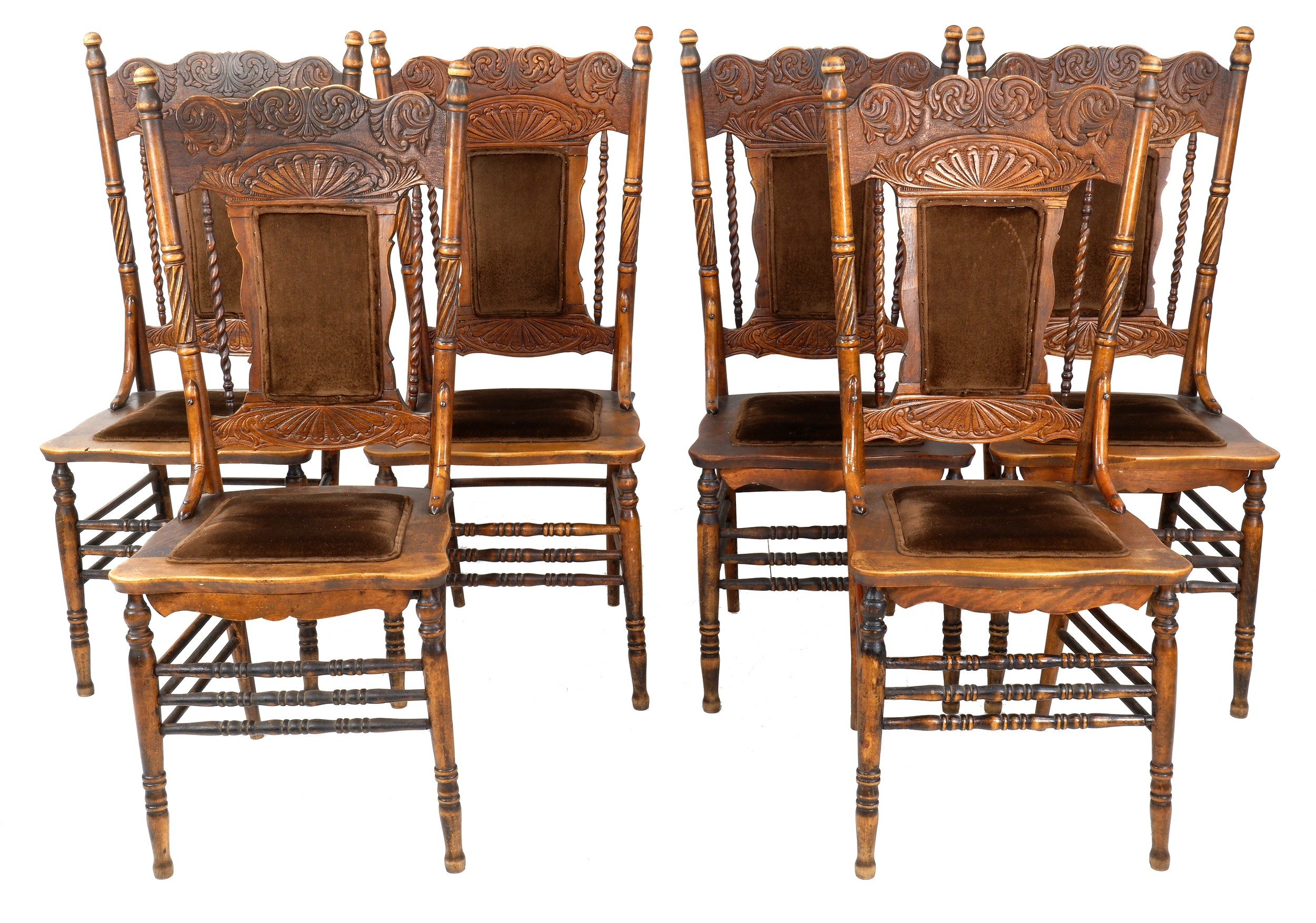 'Six Antique American Oak Pressback Cottage Chairs with Fine Barley Turned Spindles Circa 1900'