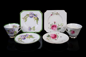 Royal Doulton 'Glamis Thistle' and 'June Trios' (2)