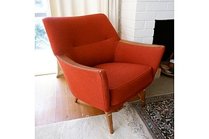 Retro Arm Chair with Red Fabric Upholstery and Exposed Teak Armrests