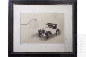 Framed Etching, BMW 3/15 Dixi Zweisitzer 1929, 43 x 60 cm (image size)