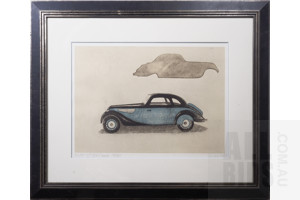 Framed Etching, BMW 327/328 Coupe 1938, 43 x 60 cm (image size)