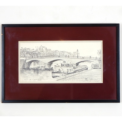 John Leeden (Working 1970-1980s), Pont De L Arch Eve Che Paris, Graphite on Canvas Board