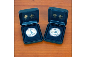 Two Sydney 2000 Olympic Coin Collection Great White Shark and Coral Silver Coins