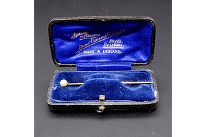 Antique 9ct Rose Gold and Seed Pearl Pin in Original Box, 1g