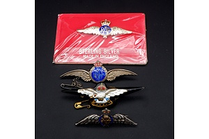 Collection Vintage Sterling Silver and Enamel RAAF Pins