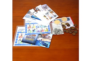 Collection Australian Stamp Sheets, First Day Covers, Three Pence's, One and Two Cent Coins and Two Bradford Exchange WWI Gold Plated Centenary Crowns