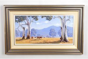 Graham Charlton (1949-), Outback Cattle, Oil on Board