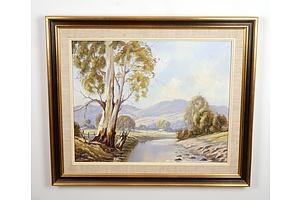 John Kriewen, Yarra River Launching Place 1982, Oil on Board