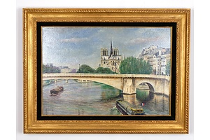 John Leeden (Working 1970-1980s) Notre Dame and Pont Marie from Pont Sully