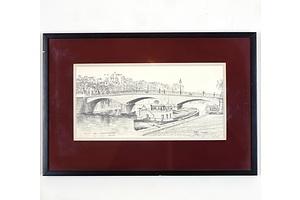 John Leeden (Working 1970-1980s), Pont De L Arch Eve Che Paris, Graphite on Canvas Board
