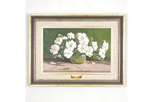 Graham Charlton (1949-) Petunias, Oil on Board