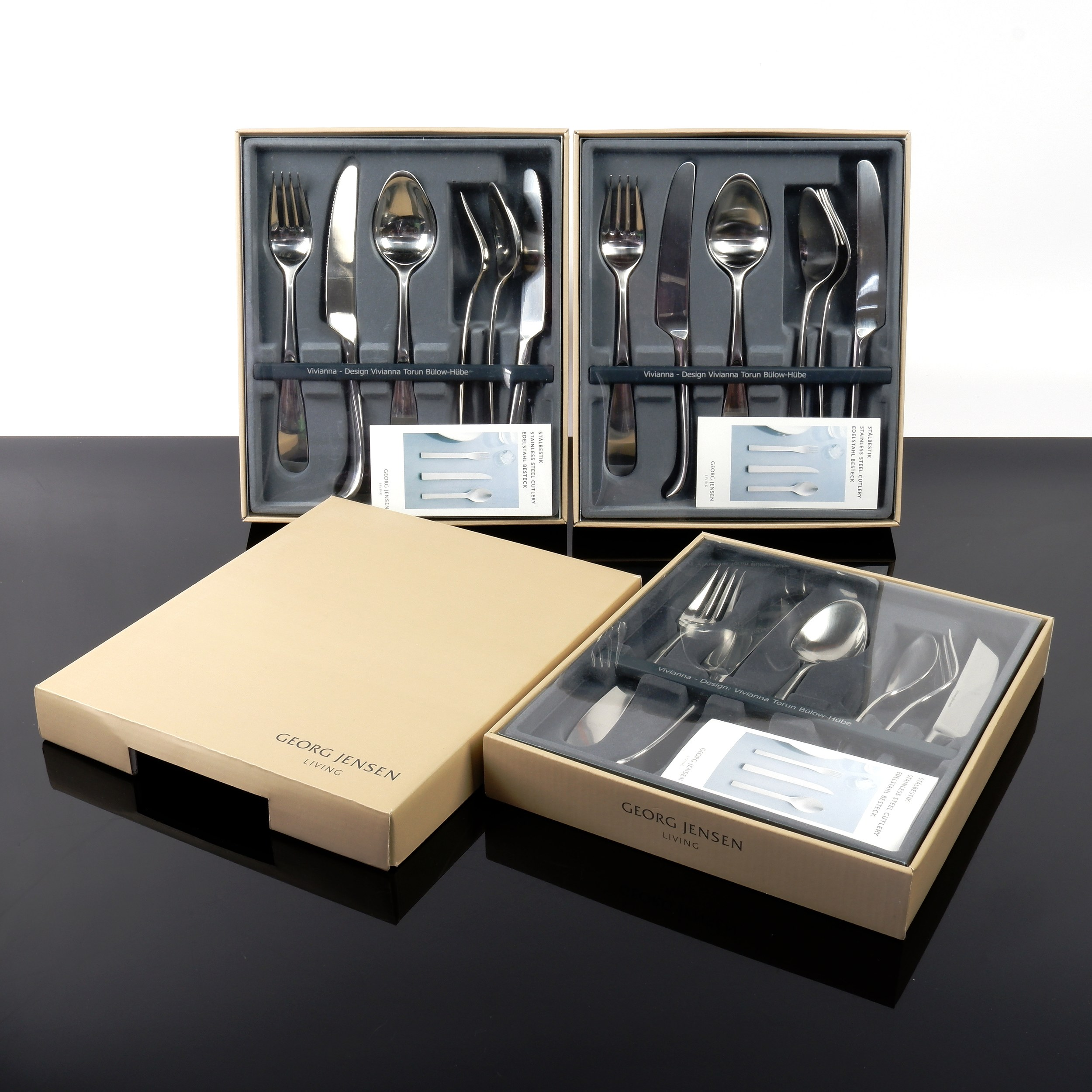 'Three Boxed Georg Jensen Viviana Flatware Sets, Total of Six Place Setting'