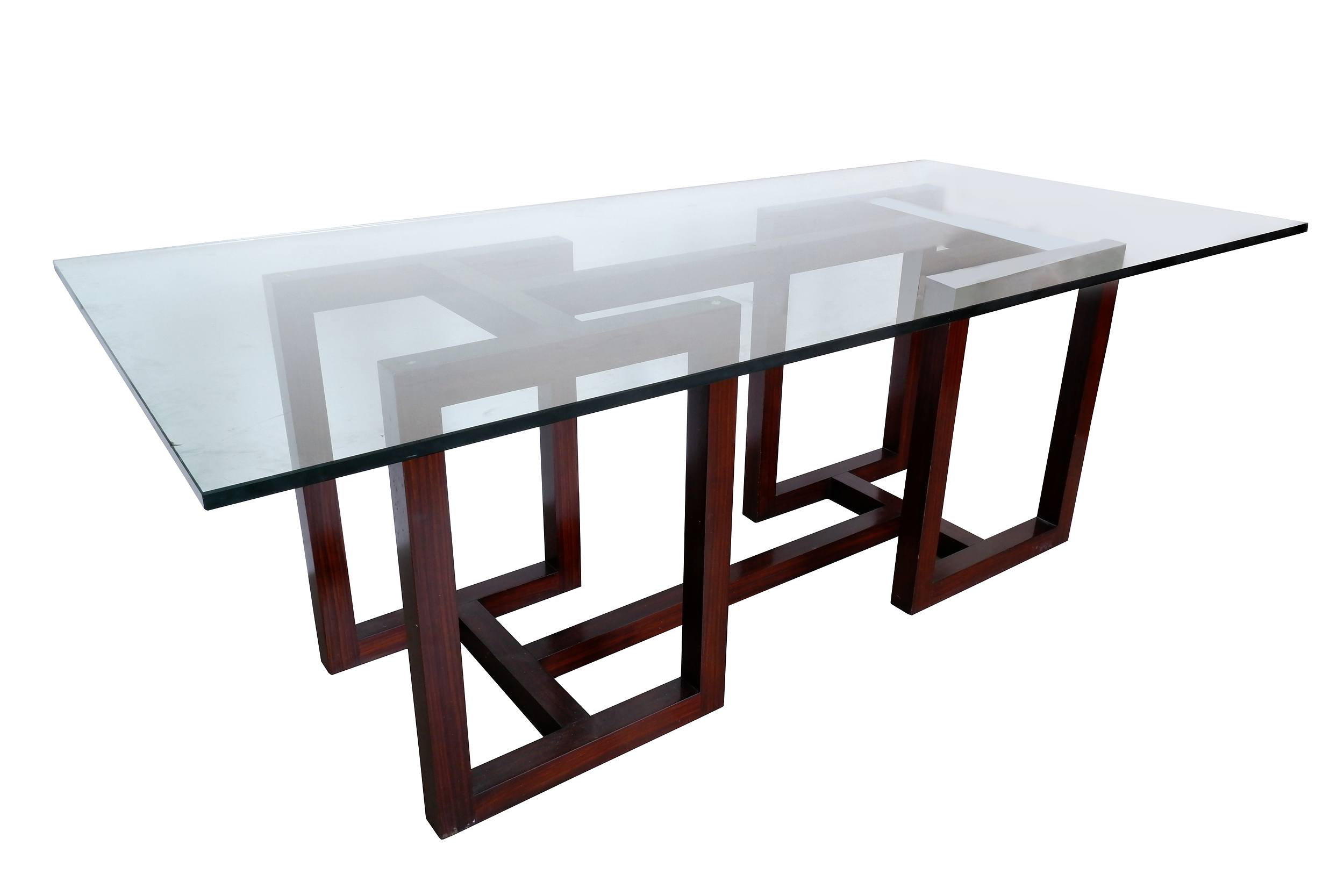 'Ralph Lauren Mercer Street Rosewood Dining Table With Heavy Glass Top'