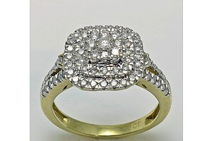 One Carat Diamond Cluster Ring: 9ct White Gold