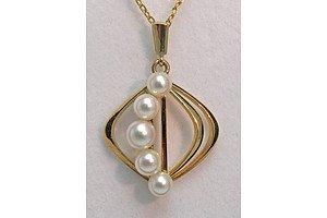 Mikimoto 14ct Gold Pendant