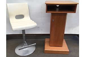Solid Victorian Ash Lectern And Cream Faux Leather Bar Stool