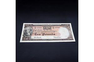 £10 1960 Coombs Wilson Australian Ten Pound Banknote R63 WA49439988