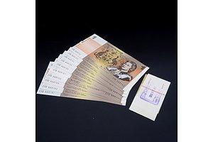 10 X Consecutive $1 1977 Knight Stone Australian One Dollar Banknotes