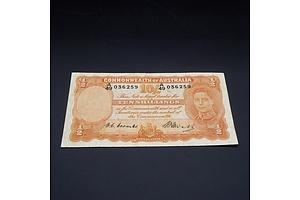 10/- 1949 Coombs Watt Australian Ten Shilling Banknote R14 A49036259