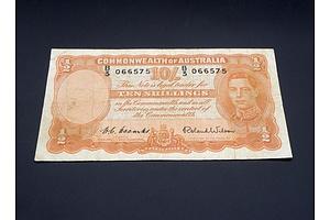 10/- 1952 Coombs Wilson Australian Ten Shilling Banknote R15 B3066575