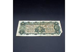 £1 1927 Riddle Heathershaw Australian One Pound Banknote R26 J24556634