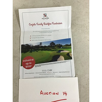 L14 - Port Kembla Golf Club, 18 holes for 4 people, including 2 carts and $100 Credit in Proshop