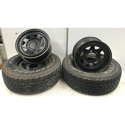 Three 16 Inch ROH Blak Trak Rims with Two Tyres
